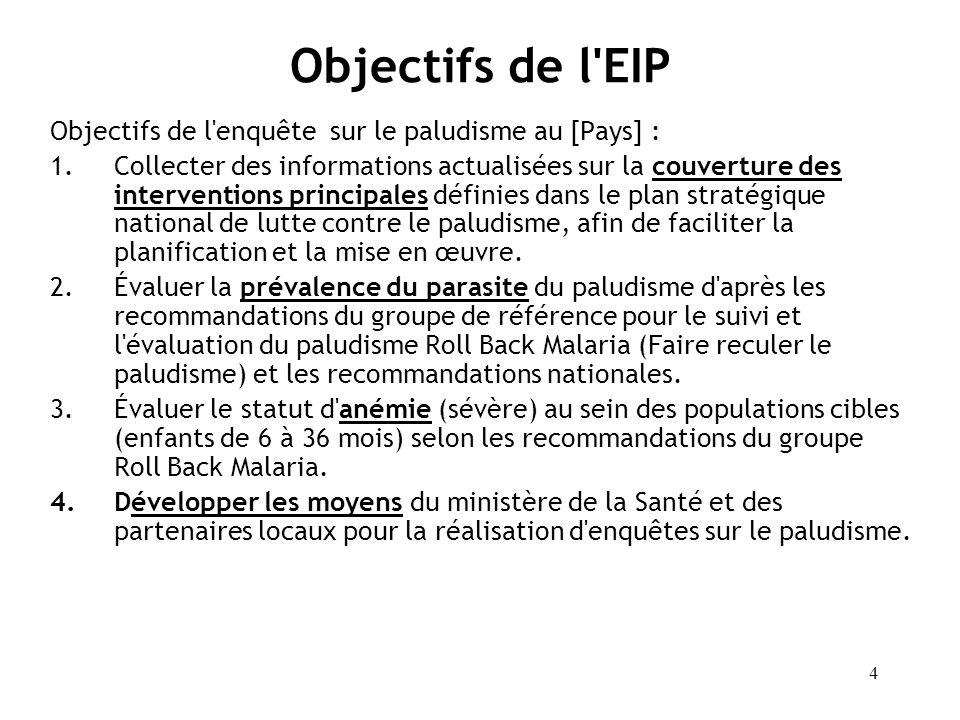 Objectifs de l EIP Objectifs de l enquête sur le paludisme au [Pays] :